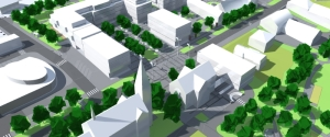 3D model of town, green with white buildigs