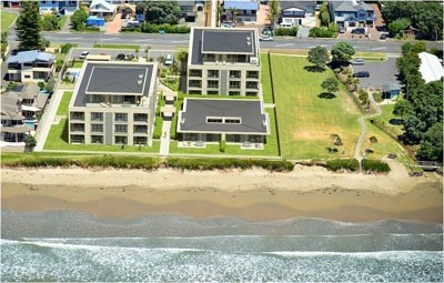 Arial image of the completed apartments